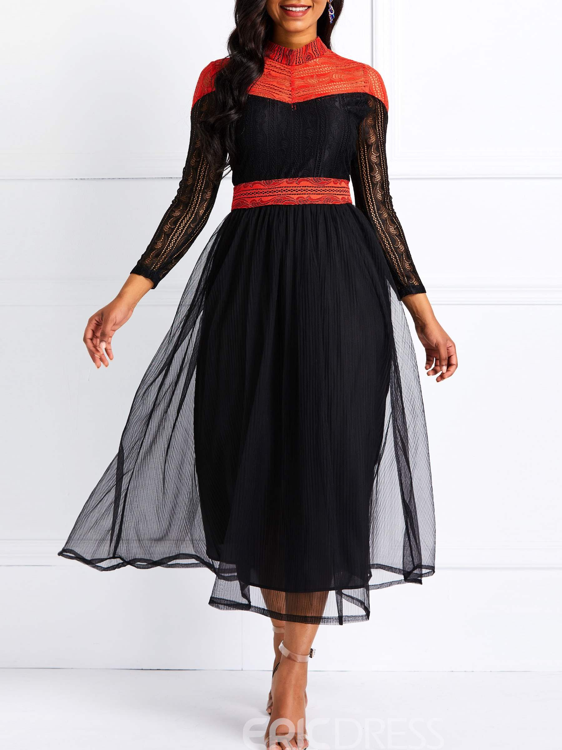 Ericdress Mesh Patchwork Ankle-Length Color Block Pullover Dress