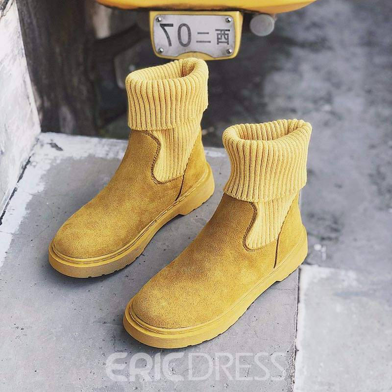 Ericdress Round Toe Patchwork Women' Boots