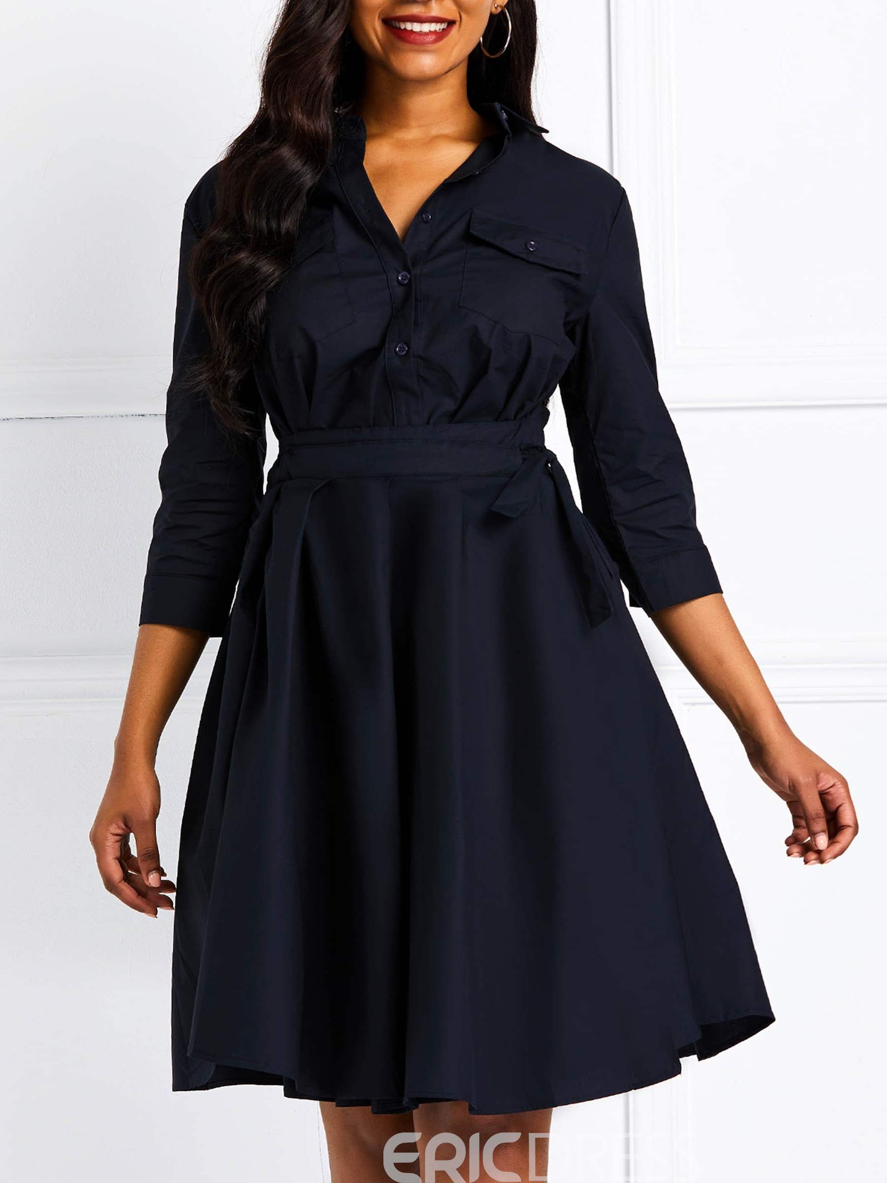 Ericdress Lace-Up Knee-Length Three-Quarter Sleeve Pleated Casual Dress