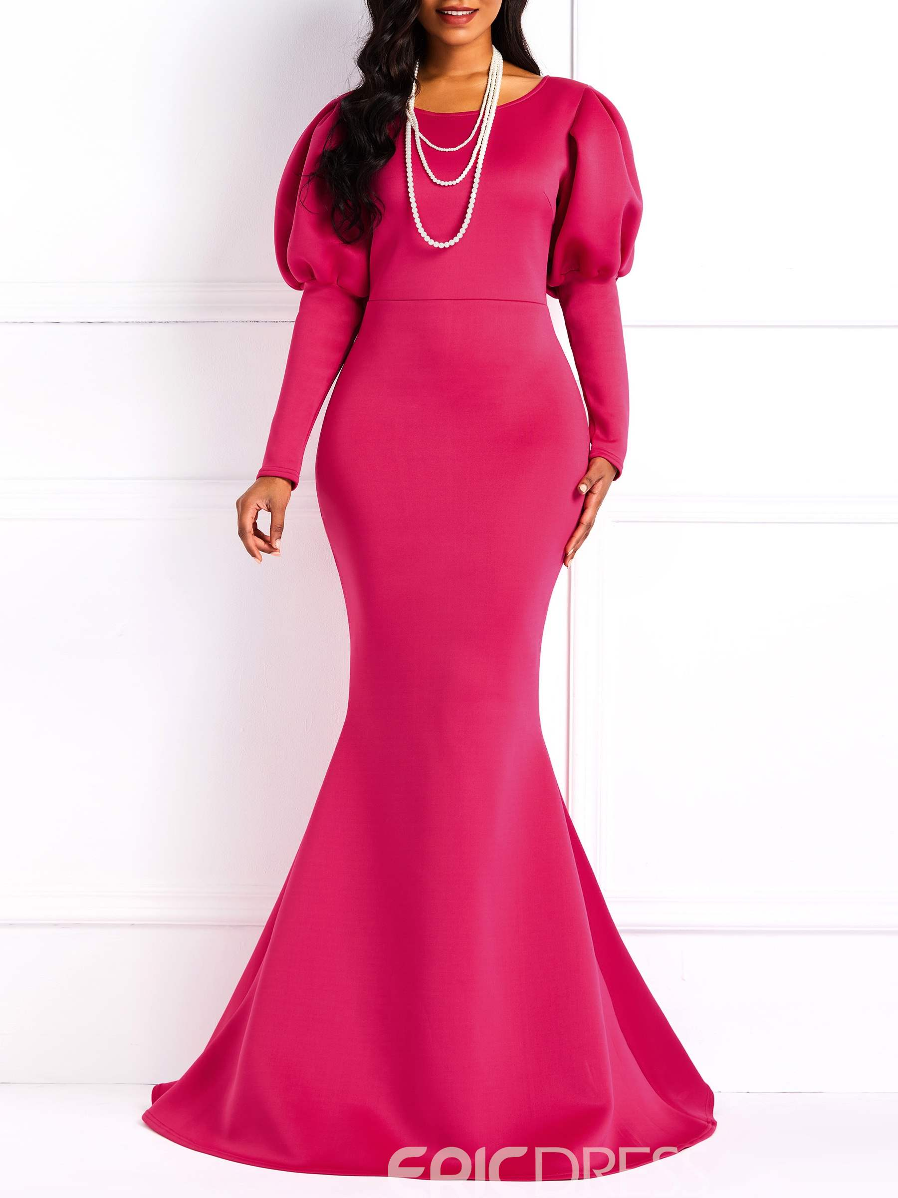 Ericdress Long Sleeves Round Neck Floor-Length Mermaid Dress