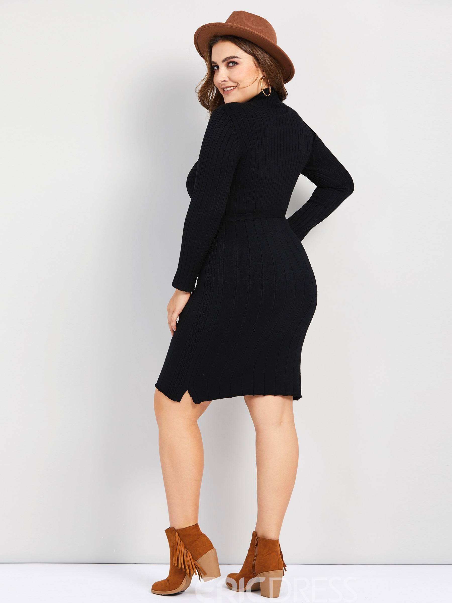Ericdress Plus Size Stand Collar Belt Long Sleeve Pullover Architecture Dress