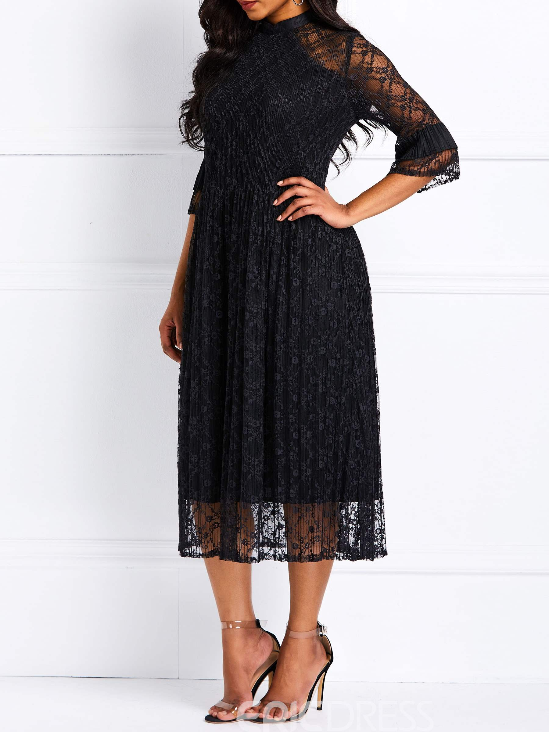 Ericdress Lace Three-Quarter Sleeve Ankle-Length A-Line Dress