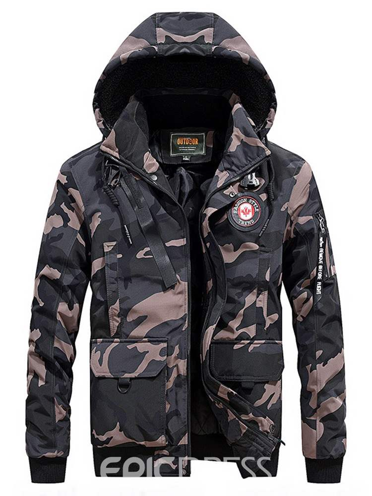 Ericdress Camouflage Printed Zipper Casual Mens Down Coats