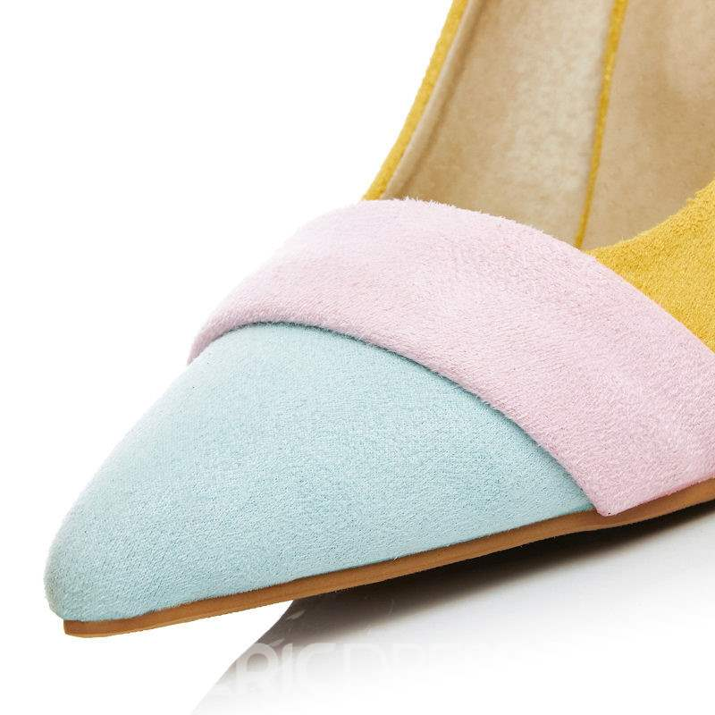 Ericdress Color Block Slip-On Pointed Toe Stiletto Heel Women's Pumps