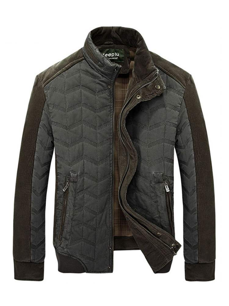 Ericdress Plain Stand Collar Patchwork Thick Mens Casual Jacket