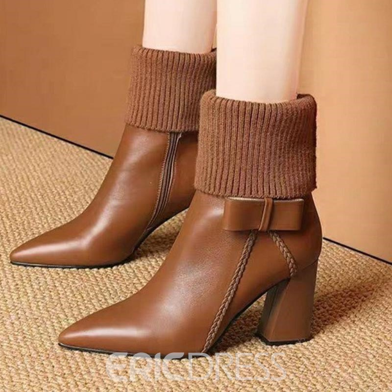 Ericdress Pointed Toe Side Zipper Chunky Heel Women's Ankle Boots