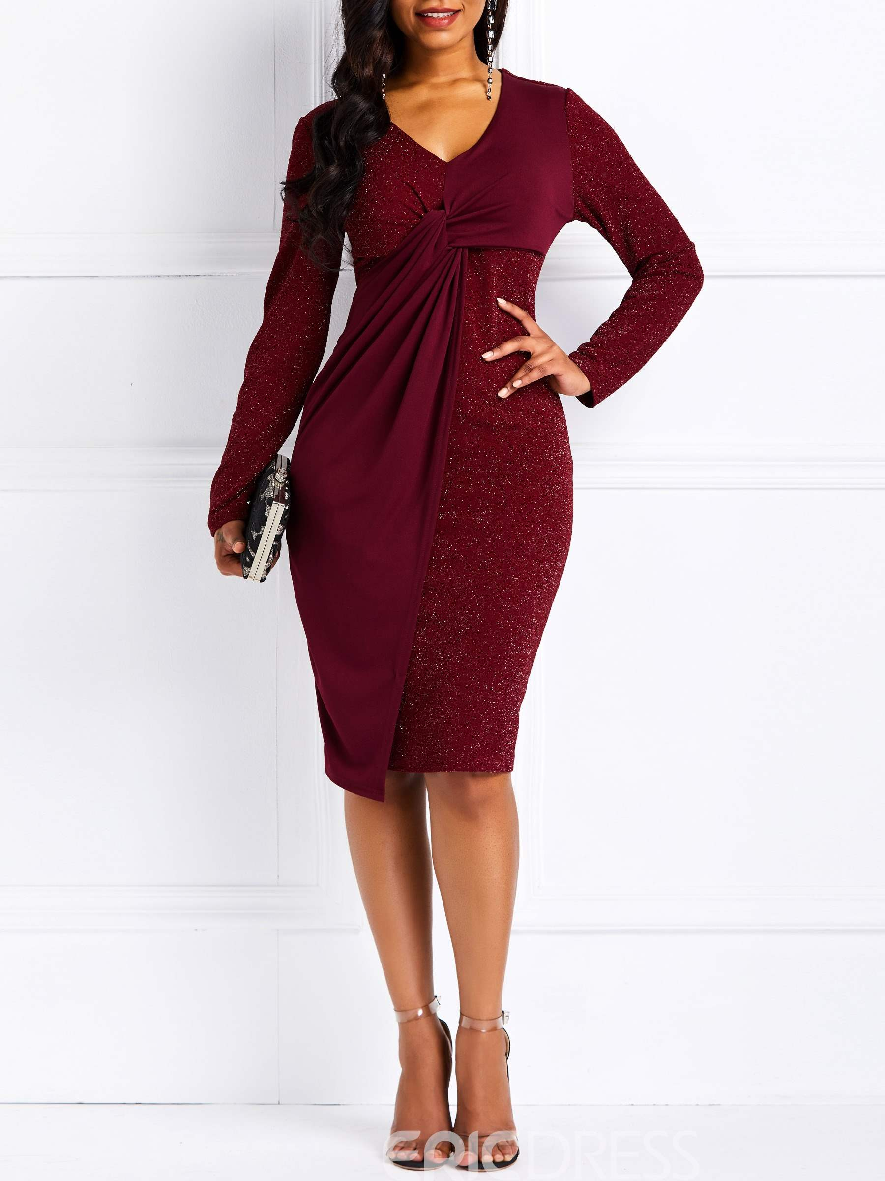 Ericdress Long Sleeve Lace-Up Knee-Length Bodycon Dress