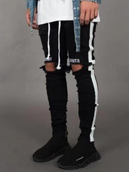 Ericdress Side Striped Color Block Mens Casual Ripped Jeans фото