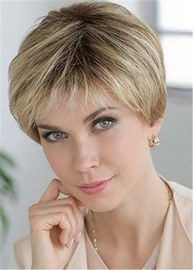Ericdress Short Natural Straight Layered Human Hair Blend Lace Front Wigs For Women 8 Inches
