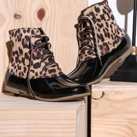 Ericdress Leopard Print Block Heel Lace-Up Front Women's Hunter Boots