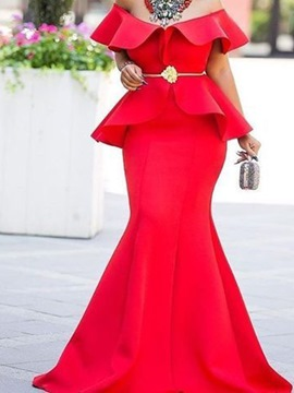 Ericdress Bodycon Floor-Length Sleeveless Falbala Pullover Red Dress(Without Waistband)