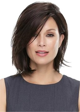 Ericdress Middle Length Natural Straight Bob Hairstyle Blunt Cut Side Parted Synthetic Capless Wigs 12 Inches