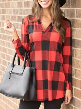 Ericdress Regular Plaid V-Neck Long Sleeve Mid-Length Blouse