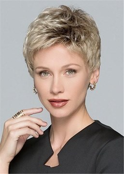 Ericdress Natural Short Layered Human Hair Blend Lace Front Wigs For Women 6 Inches