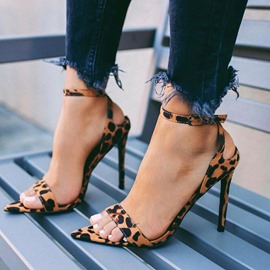 Ericdress Leopard Print Ankle Strap Stiletto Heel Women's Sandals
