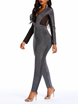 Ericdress Patchwork Fashion See-Through Skinny Lurex Jumpsuits