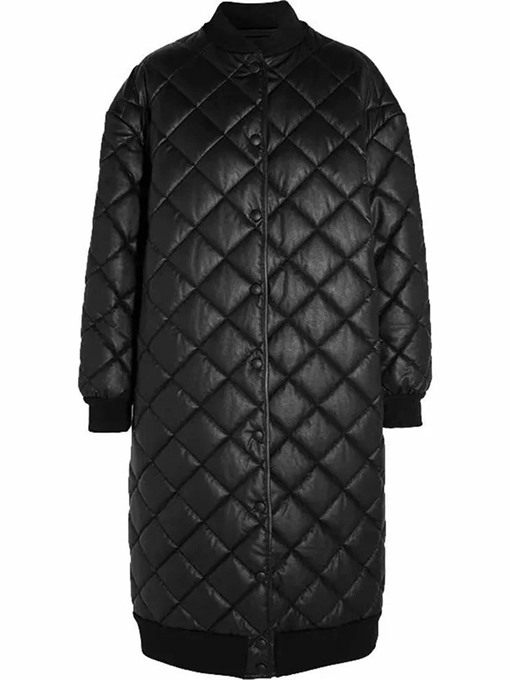 Ericdress Straight Single-Breasted Button Long Cotton Padded Jacket