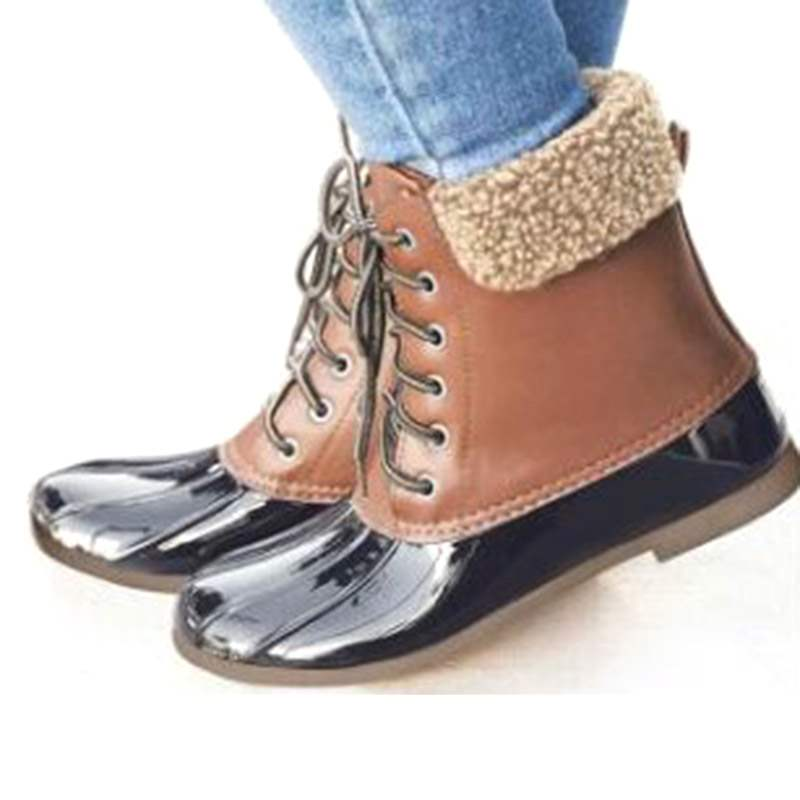 Ericdress Lace-Up Front Color Block Round Toe Women's Hunter Boots