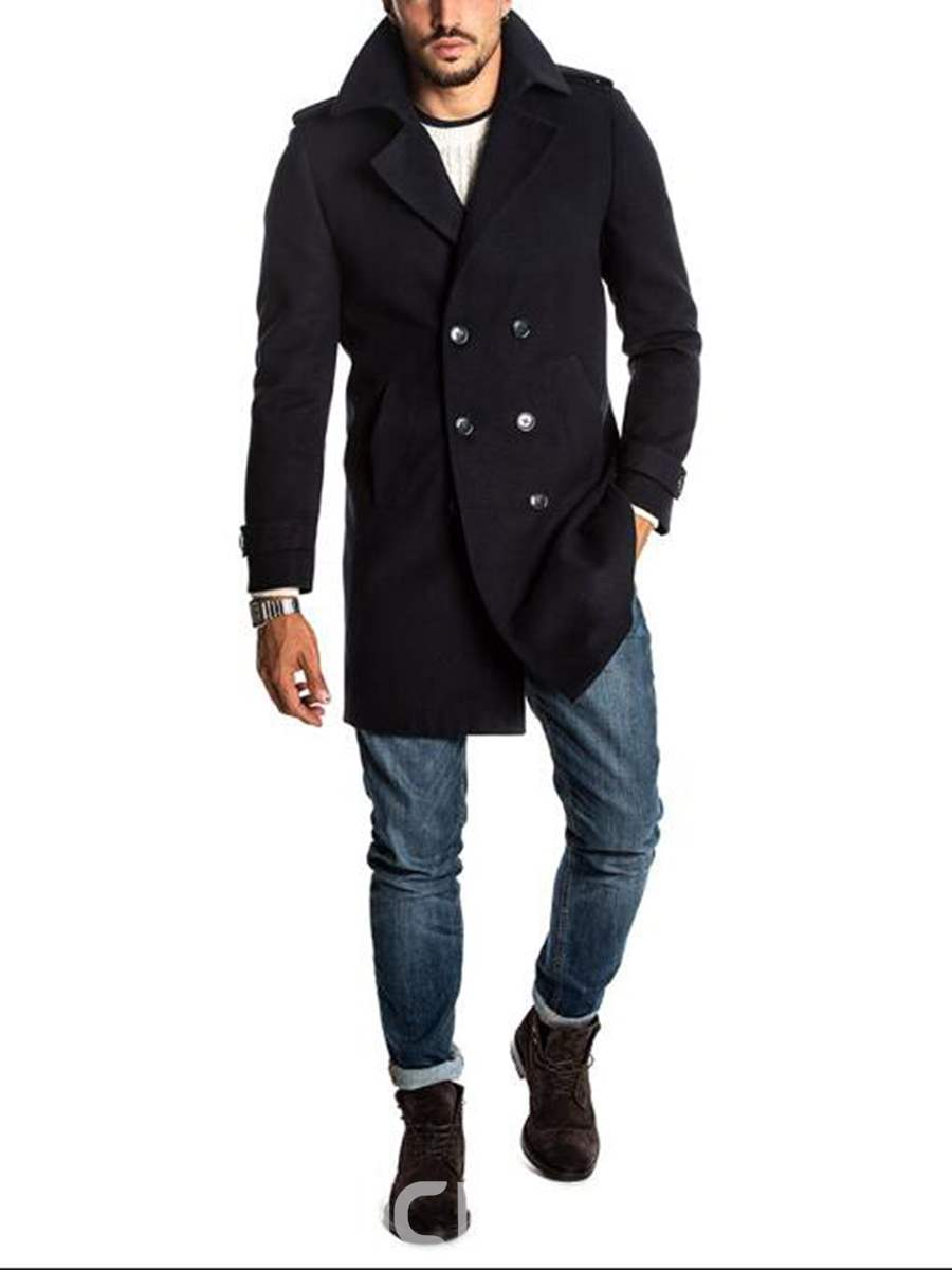 Ericdress Plain Double-Breasted Mid-Length Mens Slim Wool Coat