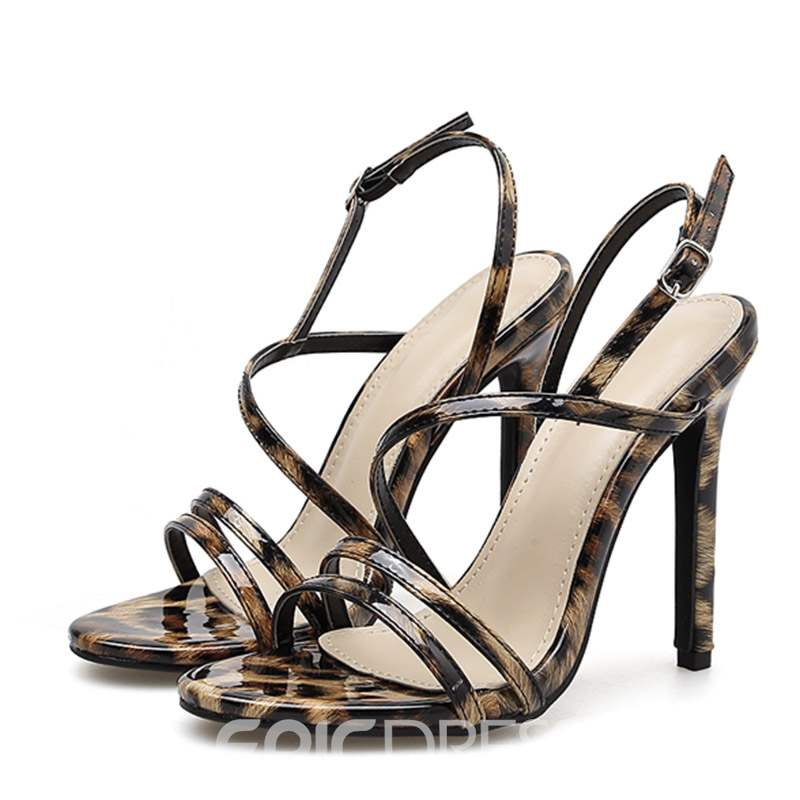 Ericdress Leopard Print Buckle Stiletto Heel Women's Sandals