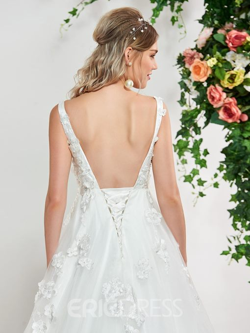 Ericdress 3D Floral Appliuqes Backless Wedding Dress 2019