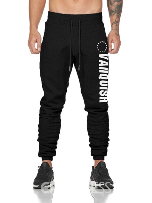 Ericdress Letter Printed Lace Up Mens Casual Sports Pants
