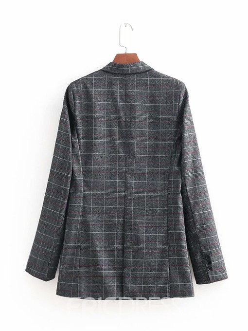 Ericdress Double-Breasted Plaid Nine Points Sleeve Fall OL Blazer(Without Waistband)