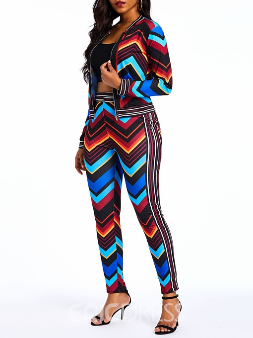 Ericdress Print Geometric Pattern Color Block Jacket and Pencil Pants Two Piece Sets