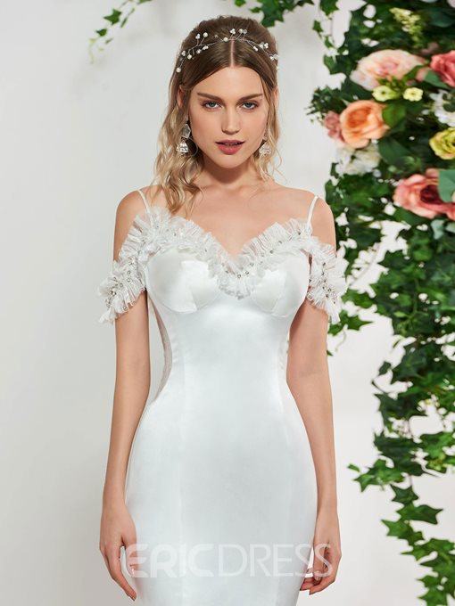 Ericdress Beading Spaghetti Straps Mermaid Wedding Dress 2019