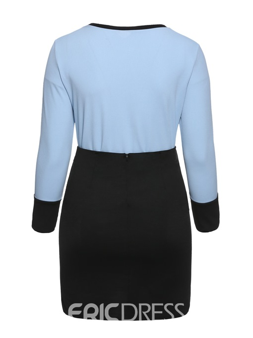 Ericdress Plus Size Color Block Casual Sweater And Skirt Two Piece Sets