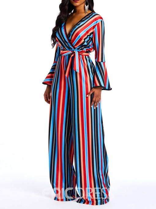 Ericdress Striped Color Block Flare Sleeve Slim Wide Legs Women's Jumpsuits
