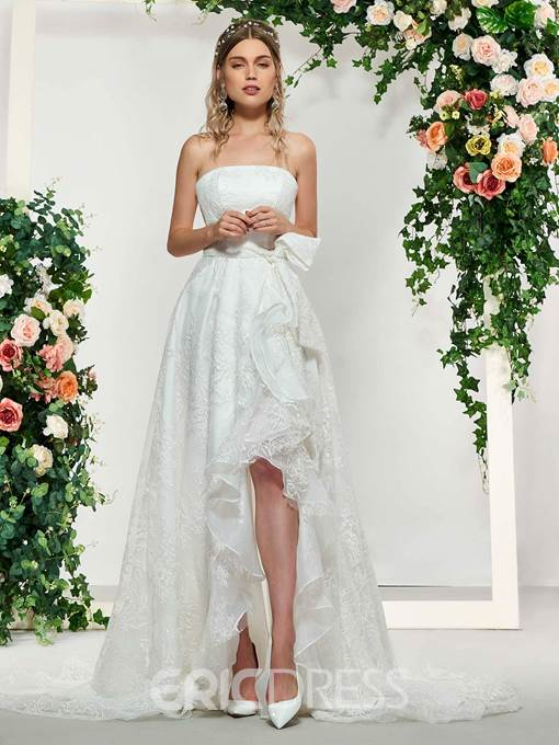 Ericdress Strapless Lace Beach Wedding Dress 2019