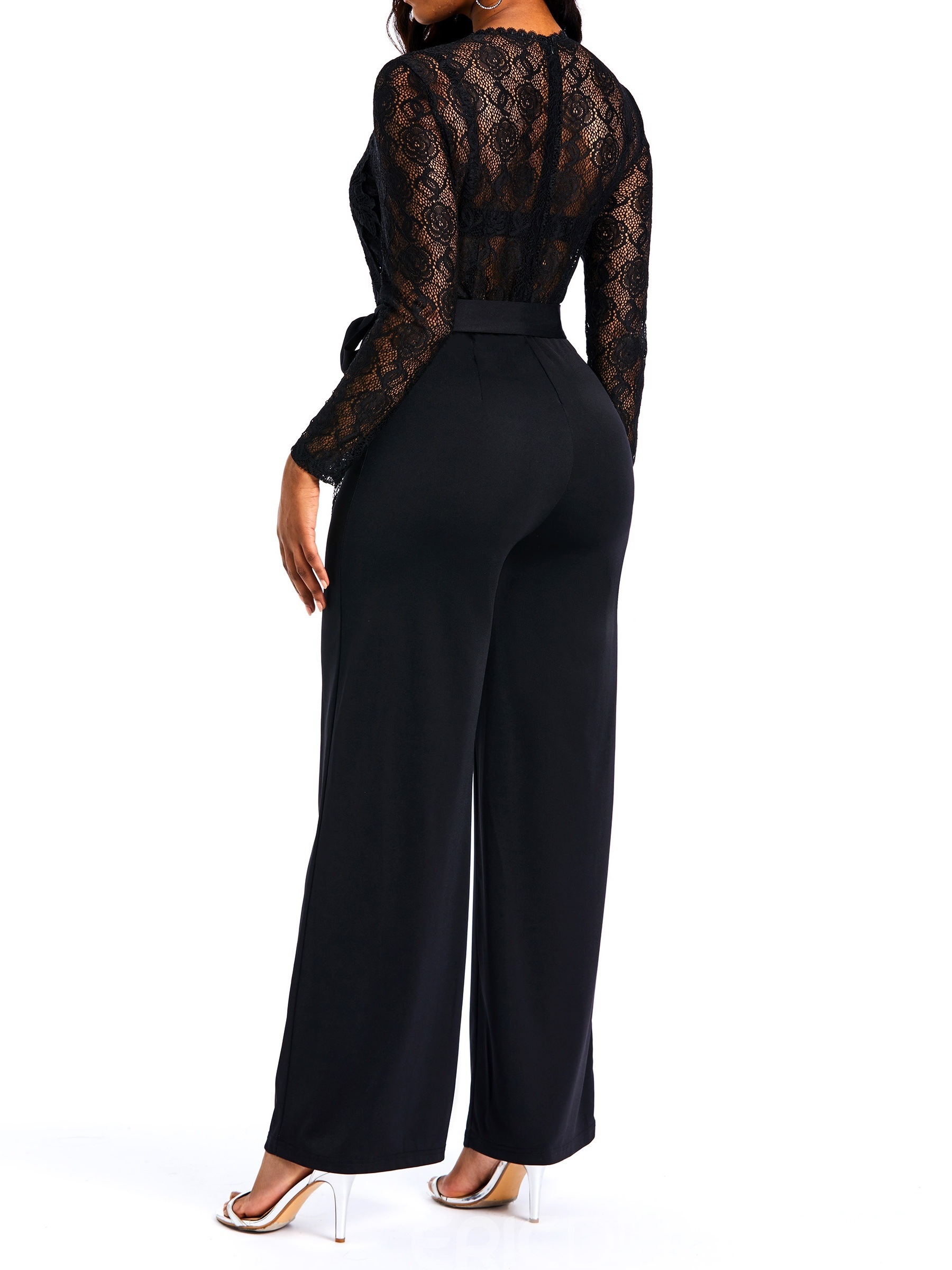 Ericdress See-Through Lace Patchwork Fashion Wide Legs Jumpsuits