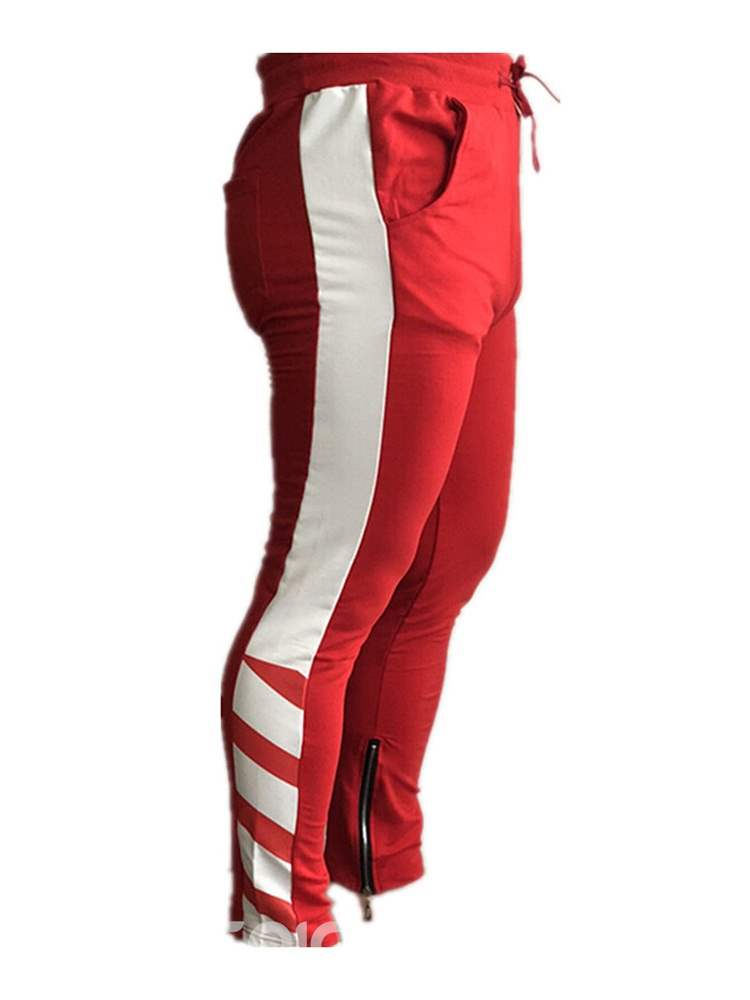 Ericdress Side Striped Patchwork Lace Up Mens Sports Casual Pants
