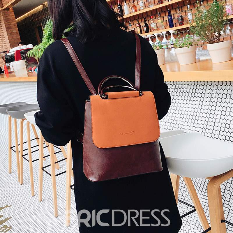Ericdress Color Block PU Nylon Backpacks