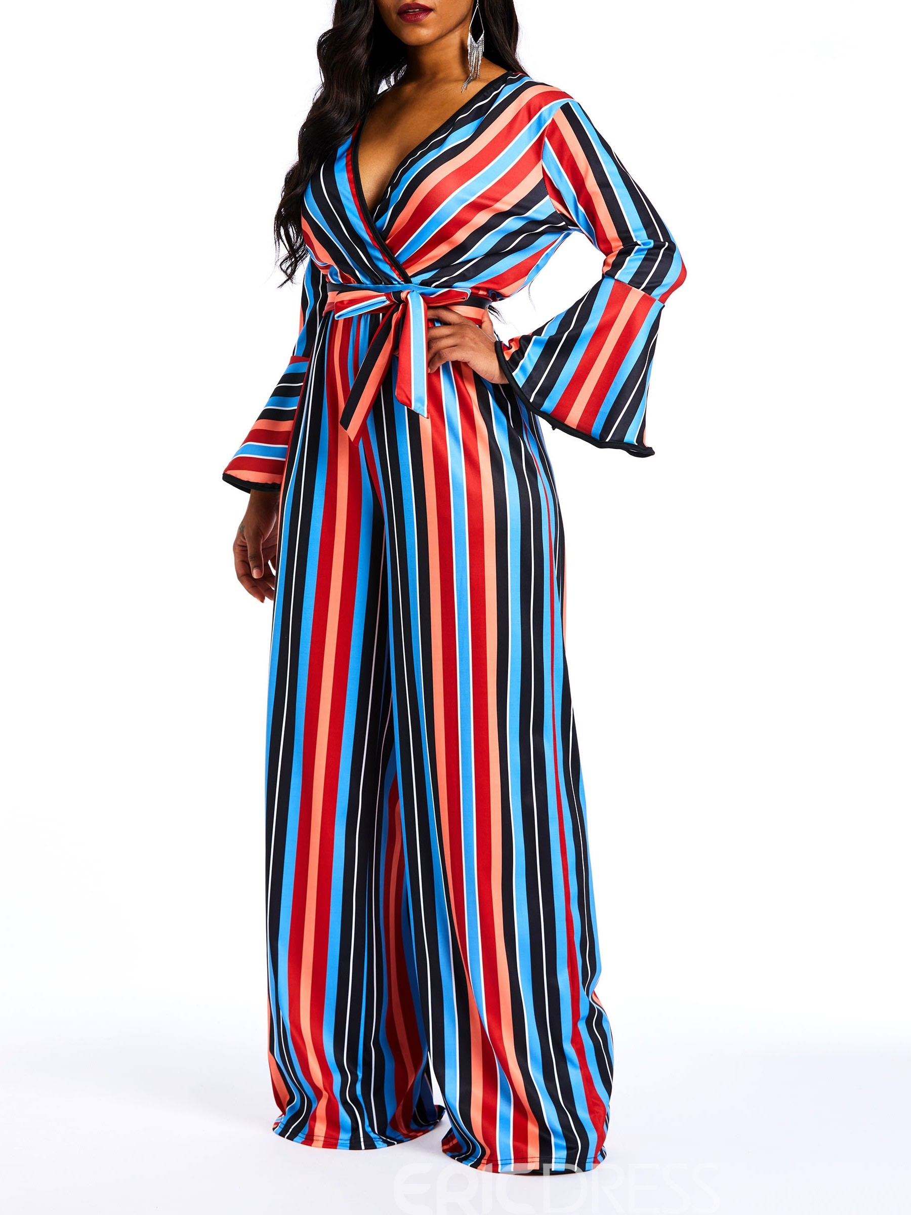 f43ca16ae34b Ericdress Striped Color Block Flare Sleeve Slim Wide Legs Women s Jumpsuits (13665922)