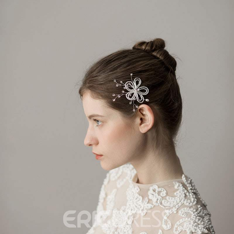 Ericdress Floral Rhinestone Beads Wedding Comb