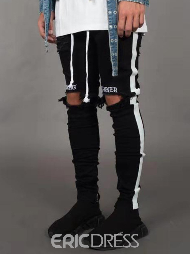 Ericdress Side Striped Color Block Mens Casual Ripped Jeans