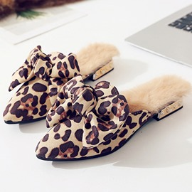 Ericdress Leopard Print Bow Slip-On Women's Mules Shoes