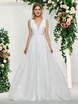 Ericdress Lace Edge V-Neck Beach Wedding Dress