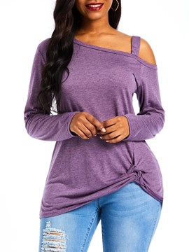 Ericdress Long Sleeve Mid-Length Plain Casual Straight T-Shirt