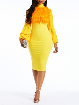 Ericdress Plume Knee-Length Long Lantern Sleeve Dress