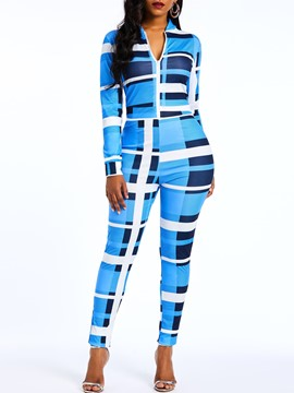 Ericdress Color Block Plaid Stand Collar Zipper Slim Women's Jumpsuit