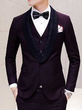 Ericdress Lapel Patchwork Slim Fit Wedding Three-piece of Men's Suits