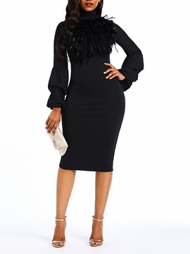 Ericdress Plume Knee-Length Long Lantern Sleeve Black Dress