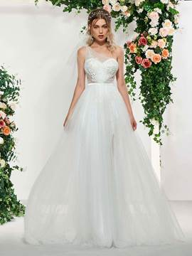 Ericdress One Shoulder Beading Appliques Wedding Dress 2019