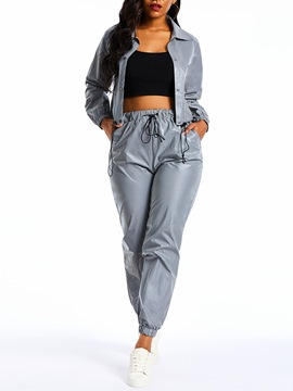Ericdress Plain Reflect Light Pockets Jacket and Elastic Waist Pants Two Piece Sets