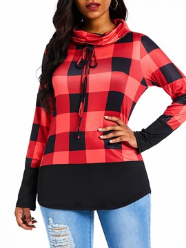 Ericdress Turtleneck Plaid Print Long Sleeve Mid-Length Blouse