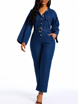 Ericdress Denim Plain Loose Button Straight Jumpsuits