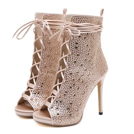 Ericdress Rhinestone Lace-Up Front Stiletto Heel Women's Ankle Boots